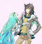 1boy 1girl animal_ears aqua_eyes aqua_hair belt black_hair cat_ears cattail circlet clenched_teeth dress gloves goggles hisui_hearts ishiwari jacket kemonomimi_mode long_hair pants plant richea_spodune sweat tales_of_(series) tales_of_hearts violet_eyes white_background