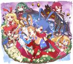 2boys 6+girls angel_wings antenna_hair armor asagiri_asagi barbara_(disgaea) belt blonde_hair blue_eyes bosutafu bow brown_hair capelet castle choker clenched_hands demon_tail demon_wings disgaea disgaea_d2 earrings etna fang fingerless_gloves flonne flonne_(fallen_angel) flower frills gloves green_hair heart heart-shaped_pupils jewelry laharl long_hair long_sleeves magical_girl mound_of_venus multiple_boys multiple_girls navel necktie open_mouth outstretched_arms petals pink_legwear pointy_ears pouch prinny red_eyes redhead scarf short_hair short_shorts shorts sicily skull slit_pupils symbol-shaped_pupils tail thigh-highs twintails very_long_hair wings xenolith