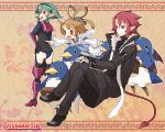 1boy 2girls angel_wings armor barbara_(disgaea) blonde_hair blush bosutafu demon_tail demon_wings detached_sleeves disgaea disgaea_d2 green_hair hairband long_sleeves multiple_girls open_mouth pointing pointy_ears prinny red_eyes redhead short_hair sicily sweatdrop tail wings xenolith