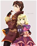 1boy 1girl alvin_(tales_of_xillia) blonde_hair bow brown_eyes brown_hair coat colored_eyelashes cravat elise_lutus frills gloves green_eyes grey_background height_difference juliet_sleeves long_sleeves micha_(chaho) pants puffy_sleeves ribbon short_hair smile tales_of_(series) tales_of_xillia tipo_(xillia) title_drop