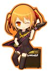 1girl chibi flat_chest guitar ico_(green_bullet) instrument looking_at_viewer orange_eyes orange_hair original simple_background skirt smile solo thigh-highs white_background