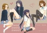 4girls akiyama_mio black_hair blue_eyes brown_eyes brown_hair hirasawa_yui k-on! long_hair multiple_girls nakano_azusa pantyhose school_uniform short_hair tainaka_ritsu yabusaka