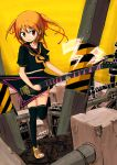 1girl guitar ico_(green_bullet) instrument looking_at_viewer orange_hair original school_uniform serafuku skirt smile solo
