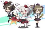 3girls animal_ears black_hair black_legwear brown_hair cellphone chibi geta hat himekaidou_hatate inubashiri_momiji kneehighs multiple_girls noya_makoto open_mouth phone red_eyes shameimaru_aya sharp_teeth sword tail thigh-highs tokin_hat touhou twintails violet_eyes weapon white_hair white_legwear wolf_ears wolf_tail
