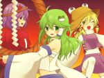 3girls ahoge blonde_hair blouse detached_sleeves fang frog_hair_ornament gohei gradient gradient_background green_eyes green_hair hair_ornament hair_ribbon hair_tubes hat high_collar knee_up kochiya_sanae leaf_hair_ornament long_hair long_sleeves looking_at_viewer looking_back midriff moriya_suwako multiple_girls payot puffy_short_sleeves puffy_sleeves purple_hair red_eyes ribbon sarashi shide shimenawa short_sleeves skirt skirt_set thigh-highs touhou white_legwear wink yasaka_kanako yellow_eyes yuka_yukiusa