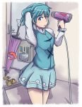 1girl blue_eyes blue_hair geta hair_dryer heterochromia highres karakasa_obake mirakona_gonzaless red_eyes short_hair skirt solo tatara_kogasa tongue touhou umbrella