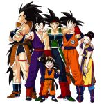 1girl 5boys :d armor bardock black_hair boots bream-tan brothers chichi clenched_hand collarbone dragon_ball dragon_ball_z family father_and_son grandfather_and_grandson hand_on_head hand_on_shoulder headband highres husband_and_wife long_hair looking_at_viewer monkey_tail mother_and_son multiple_boys muscle open_mouth raditz scar siblings simple_background smile son_gohan son_gokuu son_goten spiky_hair sweatdrop tail uncle_and_nephew white_background wristband
