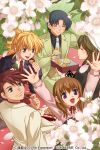2boys 3girls ^_^ beret black_hair blonde_hair blue_eyes blush brown_hair cherry_blossoms closed_eyes cookie cream_puff crown dango dress food glasses hand_behind_head hat izumi_natsuka mont_blanc_(food) multiple_boys multiple_girls necktie picnic ponytail redhead seiza shannon sitting smile umineko_no_naku_koro_ni ushiromiya_battler ushiromiya_george ushiromiya_jessica ushiromiya_maria violet_eyes wagashi