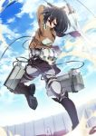1girl belt black_eyes black_hair building clouds dual_wielding from_behind highres jacket looking_at_viewer looking_back mikasa_ackerman scarf shingeki_no_kyojin short_hair sky solo sword thigh_strap umiko_(munemiu) weapon