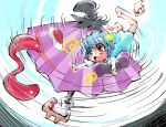 1girl @_@ absurdres bare_legs blue_eyes blue_hair geta heterochromia highres karakasa_obake open_mouth red_eyes shinapuu short_hair skirt solo spinning tatara_kogasa tongue touhou umbrella