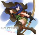1girl blue_hair blush boots bow_(weapon) braid breasts brown_eyes crossover dragon's_crown elf gloves hat idolmaster kisaragi_chihaya large_breasts long_hair pointy_ears solo thigh-highs thigh_boots twin_braids wata_do_chinkuru weapon