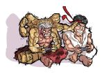 2boys asura asura's_wrath barefoot black_hair chibi controller dougi es-jeruk game_controller gamepad headband mucle multiple_arms multiple_boys playing_games ryuu_(street_fighter) sitting street_fighter white_hair