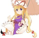 1girl :o absurdres arm_up blonde_hair bow breasts dress gap hair_bow hat hat_ribbon high_collar highres long_hair long_sleeves looking_at_viewer mob_cap open_hand parasol ribbon simple_background solo tabard touhou umbrella very_long_hair violet_eyes white_background wide_sleeves yakumo_yukari yukina_(masyumaro610)