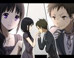 1boy 1girl bespectacled black_hair brown_eyes brown_hair chitanda_eru formal fukube_satoshi glasses gloves gown hyouka long_hair rito453 short_hair suit violet_eyes