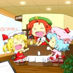 3girls apron aqua_hair bat_wings blonde_hair bloomers braid chair chibi closed_eyes cup fang flandre_scarlet glass gomi_ichigo hair_ribbon hat highres hong_meiling mob_cap multiple_girls open_mouth outstretched_arms plant pointy_ears redhead remilia_scarlet restaurant ribbon short_hair short_sleeves sitting skirt skirt_set smile star tablecloth touhou tray twin_braids underwear vest window wings