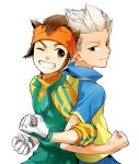 2boys blue_eyes brown_eyes brown_hair crossed_arms endou_mamoru gouenji_shuuya grin headband inazuma_eleven inazuma_eleven_(series) kinokooooo male multiple_boys short_hair smile soccer_uniform white_hair wink