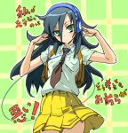 1girl bag beats_by_dr._dre black_hair blush green_eyes headphones kuroki_tomoko long_hair necktie school_uniform skirt solo tks_(chikuwa) watashi_ga_motenai_no_wa_dou_kangaetemo_omaera_ga_warui!