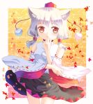 1girl :o alternate_headwear animal_ears bare_shoulders blush detached_sleeves hat hazakura_satsuki inubashiri_momiji leaf long_hair maple_leaf red_eyes solo tokin_hat touhou wide_sleeves wolf_ears