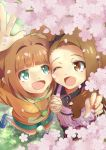 2girls brown_eyes brown_hair cherry_blossoms clover dress frog green_eyes headband holding_hands idolmaster jacket leaf minase_iori multiple_girls open_mouth orange_hair shoes skirt smile sneakers takatsuki_yayoi thigh-highs twintails wallet