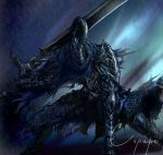 1boy arm_support armor artorias_the_abysswalker cape copepe dark_souls full_armor gauntlets helmet highres knight sword weapon