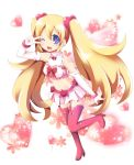 1girl blonde_hair blue_eyes blush disgaea disgaea_d2 flonne flower heart long_hair magical_girl multicolored_eyes navel open_mouth satsuki_suzuran solo twintails v very_long_hair wink