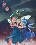 blonde_hair blue_eyes blue_hair bow breast_grab cirno daiyousei dress green_eyes green_hair hair_bow long_hair multiple_girls mystia_lorelei open_mouth ribbon rumia short_hair side_ponytail touhou wings yst