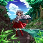 1girl animal_ears blurry boots clouds depth_of_field full_body grey_hair hemogurobina1c inubashiri_momiji nature river short_hair side_glance skirt sky solo sword touhou tree weapon wide_sleeves wind wink