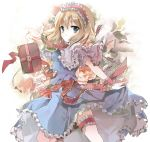 1girl alice_margatroid blonde_hair blue_dress book capelet dress dress_lift flower grey_eyes grimoire hairband key legband lolita_hairband looking_at_viewer ra-bit sash short_sleeves solo touhou upskirt wrist_cuffs