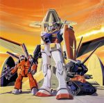 70s absurdres bird cannon dusk flock gun guncannon gundam guntank highres mecha mobile_suit_gundam official_art oldschool ookawara_kunio promotional_art rifle rx-78-2 science_fiction shield traditional_media weapon white_base