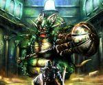 asylum_demon dark_souls demon eyes glowing hammer horns knight shield size_difference sword weapon wings
