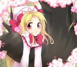 1girl blonde_hair bow capelet cherry_blossoms dress ginji74 hanging hat hat_bow lily_white long_hair looking_at_viewer pink_eyes solo touhou tree white_dress