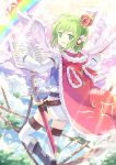 1girl animal_hood baton_(instrument) boots cape clouds feathers from_behind fur_trim green_eyes green_hair gumi hair_ornament highres kinoshita_neko light_rays looking_back mini_crown open_mouth rainbow rope scabbard sheath sheathed sheet_music short_hair sky smile solo sword thigh-highs vocaloid weapon white_legwear