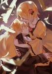 1boy 1girl arm_garter bird blonde_hair blurry brother_and_sister depth_of_field dress flower flying formal gown hair_flower hair_ornament hair_over_eyes kagamine_len kagamine_rin long_sleeves puffy_long_sleeves puffy_sleeves rose short_hair siblings tears twins vocaloid wide_sleeves xiayu93 yellow_dress