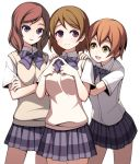 3girls blush brown_hair crossed_arms hands_on_shoulders hoshizora_rin koizumi_hanayo love_live!_school_idol_project multiple_girls nishikino_maki open_mouth redhead school_uniform short_hair skirt smile steepled_fingers sweater_vest torigoe_takumi violet_eyes yellow_eyes
