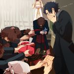 1girl 6+boys brown_eyes brown_hair emiya_kiritsugu fate/extra fate/stay_night fate/tiger_colosseum fate/zero fate_(series) fley3black gift head_scarf heart irisviel_von_einzbern kotomine_kirei mapo_doufu multiple_boys multiple_persona triquetra young