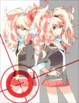 blue_eyes dangan_ronpa enoshima_junko freckles highres ikusaba_mukuro kgr_(paipooo) long_hair necktie siblings skirt sleeves_rolled_up spoilers twintails