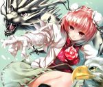 1girl animal bandages bird black_legwear breasts bun_cover double_bun dragon eagle flower ibaraki_kasen kneehighs open_mouth pink_eyes pink_hair pink_rose pointing rose short_hair skirt smile solo tabard takemori_shintarou touhou violet_eyes yellow_eyes
