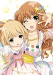 2girls ;d \m/ breasts brown_eyes brown_hair cleavage futaba_anzu hair_ornament idolmaster idolmaster_cinderella_girls kiya_shii large_breasts long_hair moroboshi_kirari multiple_girls nail_polish short_hair smile stuffed_toy
