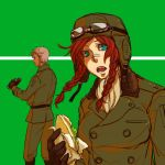 binoculars bintei braid crossover goggles hong_meiling king_of_fighters krizalid military military_uniform pilot_suit redhead sandwich touhou uniform white_hair