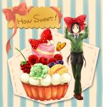 1boy black_hair blueberry bow bowtie cherry cupcake fate/zero fate_(series) food fruit green_eyes juliacco macaroon solo strawberry sweets waver_velvet