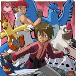 2boys articuno brown_hair clenched_hand combusken datsura_(pokemon) fangs fingerless_gloves gloves grey_eyes grin hat lairon looking_down multiple_boys outstretched_hand parted_lips poke_ball pokemoa pokemon pokemon_(anime) pokemon_(creature) popped_collar red_eyes sleeveless_coat smile sugio_(pokemon) taillow vigoroth