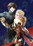 2boys armor blonde_hair brown_eyes brown_hair fate/extra fate/extra_ccc fate_(series) gilgamesh male_protagonist_(fate/extra) mpn multiple_boys red_eyes