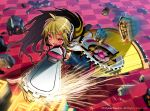 attacking blonde_hair boots chainsaw character_request cosmic_break glowing glowing_eyes grid hair_ornament headphones highres long_hair morizo_cs red_eyes rock skirt smile sparks tank_top thigh-highs watermark weapon
