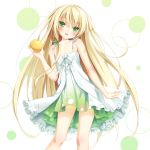 1girl :d bare_legs bare_shoulders blonde_hair blush dress food fruit green_eyes hair_ribbon head_tilt holding long_hair looking_at_viewer open_mouth orange original peko ribbon smile solo sundress tattoo very_long_hair