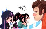 1boy 2girls big_nose black_hair bow brown_hair candy child crossover hair_bow hair_in_mouth hair_ornament hoodie katana multicolored_hair multiple_girls panty_&_stocking_with_garterbelt pink_hair ponytail purple_hair scrunchie sho-n-d stocking_(psg) striped sword two-tone_hair vanellope_von_schweetz weapon wreck-it_ralph wreck-it_ralph_(character)