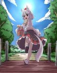 1girl animal_ears bare_legs basket blush bridge clouds inubashiri_momiji looking_at_viewer noa_(nagareboshi) open_mouth red_eyes running shor silv sky solo sun tail touhou tree wolf_ears wolf_tail