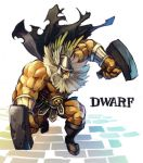 1boy armor beard boots cape character_name chingisu dragon's_crown dual_wielding dwarf_(dragon's_crown) facial_hair faulds hammer helmet long_hair muscle solo weapon white_hair winged_helmet