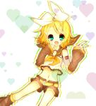 1girl blonde_hair blush colored green_eyes highres ilias_niconico kagamine_rin open_mouth short_hair smile solo vocaloid