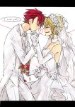 1boy 1girl beatrice blonde_hair bouquet bridal_veil closed_eyes detached_sleeves dress english flower gloves hair_bun hand_kiss heart heart_of_string kiss lovemaronmeru0827 redhead tears tuxedo umineko_no_naku_koro_ni ushiromiya_battler veil wedding wedding_dress white_gloves