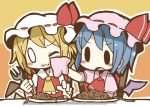 2girls :3 adomi ascot bat_wings blonde_hair blue_hair blush_stickers chair chibi dress flandre_scarlet food food_on_face fork handkerchief hat hat_ribbon millipen_(medium) multiple_girls o_o open_mouth pink_dress plate puffy_sleeves red_dress remilia_scarlet ribbon short_sleeves siblings sisters sitting spaghetti table touhou traditional_media wings wink wiping_face
